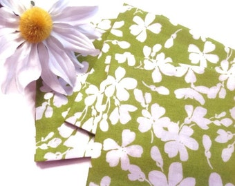 Fabric Beverage Napkins Cocktail Napkins Eco Friendly 100% Cotton Napkins Appetizer Napkins  - set of 6 - Lime Green White