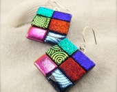 Patchwork jewelry, dichroic earrings, fused dichroic glass, handcrafted jewelry, women's handmade, birthday gift, glass fusion, trending now