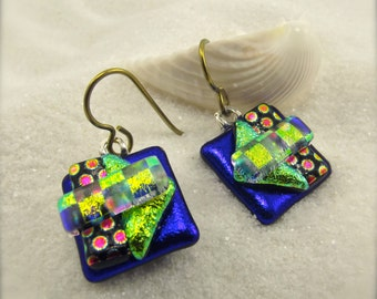 Dichroic glass earrings, fused glass jewelry, Hana Sakura, Blue earrings, handcrafted glass gifts, short style earrings, glass fusion, ooak