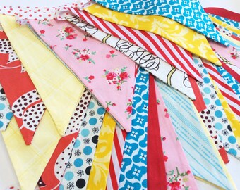 Set of TWO Long Circus or Carnival Themed Fabric Bunting Banners, Vintage, Gender Neutral, As shown Birthday, Weddings, Kids Rooms Parties.