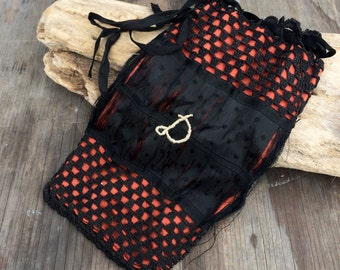 Victorian Reticule - Black and Red -