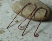 Handmade hammered antique copper long fish hook earwire size 42x12mm 20g thick, 2 pcs (item ID W-098ACK)