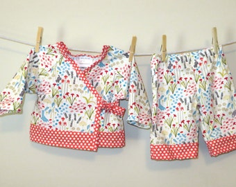 READY TO SHIP - Baby Kimono Play Set - Cloud 9 Garden in Red, Organic, Size 6-9 Months