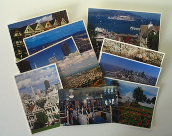 11 Vintage San Francisco Postcards-Unused-GG Bridge-TransAmerica-CableCar