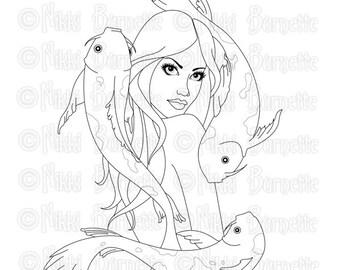 Digital Stamp - Printable Coloring Page - Fantasy Art - Mermaid Stamp - Adult Coloring Page - Jayna - by Nikki Burnette - PERSONAL USE