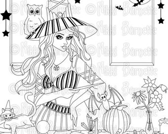 Digital Stamp - Printable Coloring Page - Fantasy Art - Witch Stamp - Adult Coloring Page - Kirra - by Nikki Burnette - PERSONAL USE