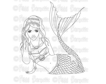 Digital Stamp - Printable Coloring Page - Fantasy Art - Mermaid Stamp - Adult Coloring Page - Giselle - by Nikki Burnette - PERSONAL USE