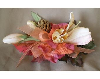 Autumn floral barrette boho fall hair flowers bridal accessory rustic harvest wedding renaissance faerie costume harvest flower clip