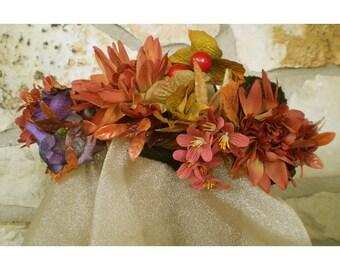 Autumn floral head wreath boho fall flower bridal renaissance faerie crown rustic wedding bride flowers samhain
