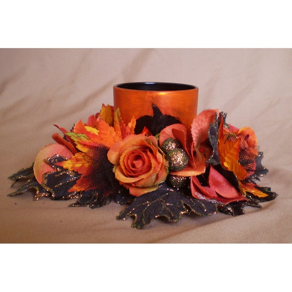 Floral centerpiece candle ring flower wreath arrangement