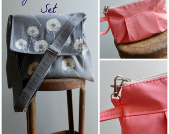 Brown Messenger Bag Wristlet Set - 3 pockets - adjustable strap - key fob - Custom SET