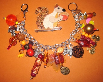Squirrel Charm Bracelet Squirrel Bracelet Squirrel Jewerly Fall Jewelry Autumn Bracelet Fall Colors Autumn Jewelry OOAK Statement Piece