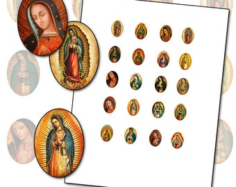 Our Lady of Guadalupe 13x18mm oval digital collage sheet 13x18 mm INSTANT DOWNLOAD