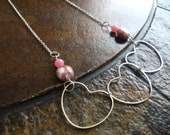 Cherry Hearts Glass and Vintage Plastic Silver Plated Chain necklace