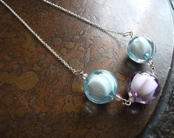Pastel Cutie Lucite and Czech Fire Polish Glass Silver Plated Chain necklace