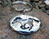 Running Horse Key Chain, Mustang Key Ring, Cast Pewter, Hand Hammered Horse Keychain