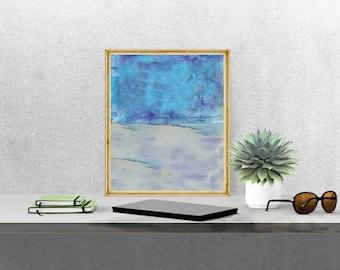 Printable Art, Abstract Watercolor Wash, Azure Blue, Instant Download, Printable Abstract, Scandinavian Art