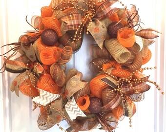 Deco mesh Fall Wreath, Fall wreath, Orange and brown wreath, Fall Deco Mesh Wreath, Thanksgiving Wreath,