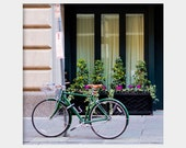 Bicycle in New Orleans: square fine art photograph print with bike on sidewalk with flower boxes, windows in dark green
