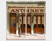 Antoine's: square fine art photograph print of famous New Orleans restaurant exterior architecture in green and brown (French Quarter art)