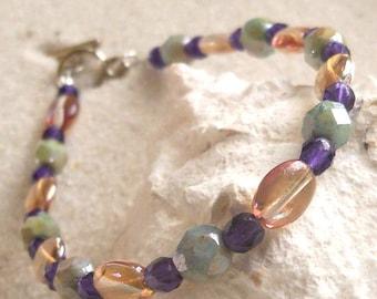 Beaded Bracelet - Bead Jewelry - Purple and Green Bracelet - Gift for Her - Green and Purple Bracelet - Czech Glass Beads- Women's Bracelet