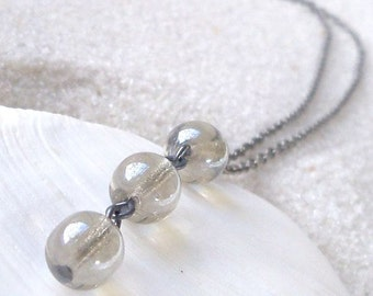 Glass Bead Jewelry - Beaded Jewelry - Gray Bead Necklace - Gift Idea - Round Bead Necklace - Modern Necklace - Minimalist Necklace