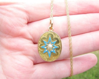 Victorian Gold Locket, Blue Enamel Star with Wonderful Engraving and Original Pearl, on 14K Gold Chain