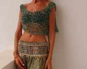 green tank / green poncho / evening tank / Turquoise blue silver and green Glamorous evening cover up / tank / cropped top