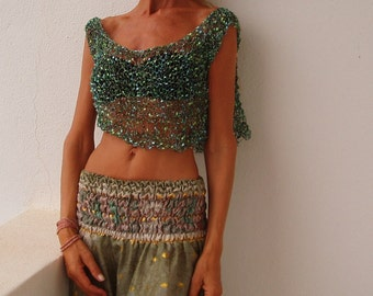 green crop top, tank, evening top, Turquoise blue silver and green Glamorous evening cover up / tank / cropped top
