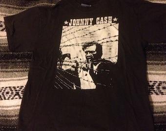 Vintage 90's Johnny cash tshirt youth large black