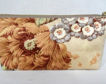 Vintage Floral Fabric Butterscotch Cotton Sateen Zip Purse, Make Up Bag, Cosmetics Pouch