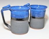 2 Mug Set 20-24oz, blue, turquoise, brown,purple, yellow