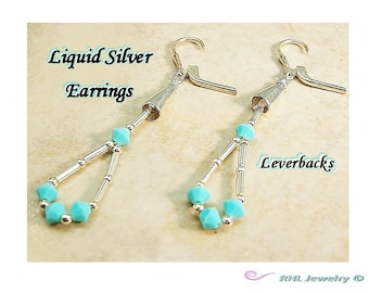 Liquid Silver Earrings ~ Long Earrings ~ Leverback Southwestern - E2010-31