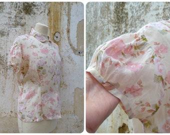 Vintage 1980 /80s tea party garden floral viscosa /cotton Peter Pan collar blouse  size L