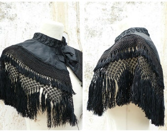 Vintage Antique 1900 Victorian French cape /black silk adorned with  macrame fringes /capelet/Matinée size free