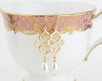 Gold Pearl Earrings - Pearl Earrings, Scroll Earrings, Wedding Earrings, Bridesmaid Earrings, Dangle Earrings, Bridal Jewelry