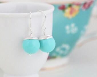 Tiffany Blue Earrings, Aqua Blue Earrings, Sterling Silver Earrings, Dangle Earrings, Silver Earrings, Simple Earrings, Round