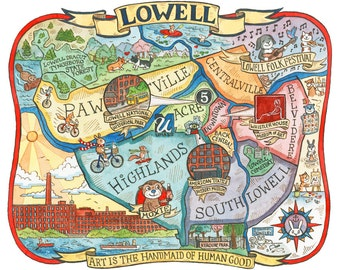 "Lowell Massachusetts Map 16""x20"" Art Print"