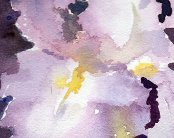 Iris Digital Print of Watercolor Painting, Matted 5 by 7