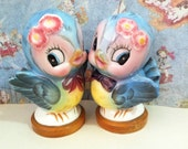 FREE SHIPPING RARE Vintage Antique Mr and Mrs Bluebird Salt and Pepper Shakers Lefton Collectibles or Wedding Cake Toppers