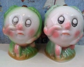 VERY RARE Vintage Sad Faced Granny Smith Apple People Salt and Pepper Shakers Antique Collectibles or Cake Toppers Fall Halloween Decoration