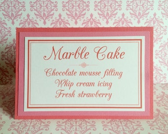 4x6 Custom Printed Wedding or Party Paper Signs - Great for Candy Buffet, Cookie Buffet or Cake and Cupcake Flavors - Any Color or Style