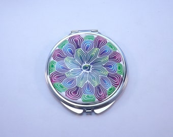 Large Compact Purse Mirror, Colorful Mandala Flower Polymer Clay Embellished