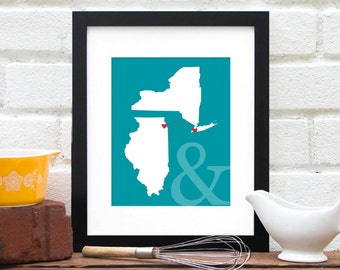 Two States Map, Gift for Couple, Personalized Engagement Map, Long Distance Family, Miss You Map, Personalized Long Distance Map - 8x10