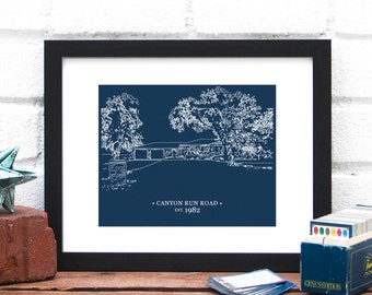 Personalized Gift for Dad, Gift for Step-Father, Step Dad Gift, Grandfather's Home, House Illustration Drawing for Him - 8x10 Art Print