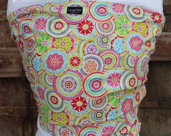 ORGANIC COTTON Baby Wrap Sling Carrier -Bright Medallions On White-Newborn to Toddler Carrie-DvD Included