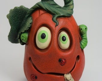 Goofy Pumpkin - MINI -  Halloween Decor - Autumn - Fall - Ceramics - Hand Painted - Sculpture - Vintage - Retro - Funky - Traditional Art