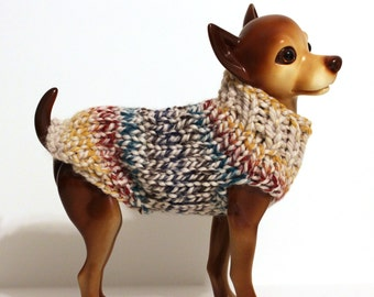 Ivory Blue Yellow and Red Striped Dog Sweater