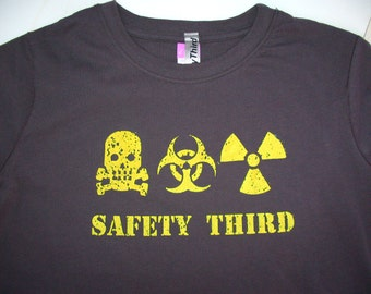 WOMENS Infected Skully Triple Threat Safety Third tshirt gray & yellow safety tshirt s - xxl skull biohazard radioactive safety 3rd plague