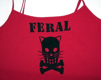 FERAL Kitty Crossbones  tank tshirt - Safety Third 3rd Dark Red Black OOAK Womens Large screened spaghetti straps tank wild cats kitten